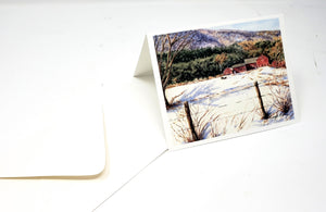 Vermont Farm Barn Notecards New England Winter Snow scene thank you notes greeting cards mountain landscape watercolor notecards rural - Leigh Barry Watercolors