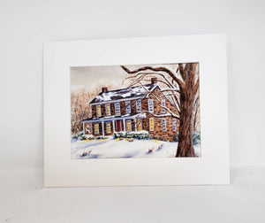 Snow Landscape painting winter landscape print framed wall print watercolor landscape Christmas art Leigh Barry Watercolors wall decor - Leigh Barry Watercolors