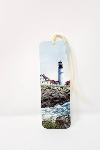 Portland Head Lighthouse Maine lighthouse bookmark  handpainted bookmark original bookmarker seaside painting bookmark watercolor lighthouse - Leigh Barry Watercolors