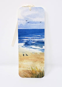 Original art bookmarker beach painting bookmark seagull art watercolor bookmarker beach art gift for booklover - Leigh Barry Watercolors
