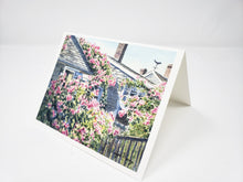 Load image into Gallery viewer, Nantucket notecards Rose Covered Cottage watercolor Cape Cod  Sconset Nantucket roses greeting cards thank you notes art blank notecards - Leigh Barry Watercolors