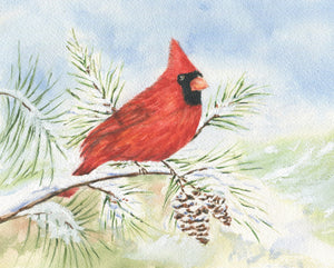 Red Cardinal watercolor painting red cardinal print framed art print Christmas art snow painting framed wall print red bird print bird art - Leigh Barry Watercolors