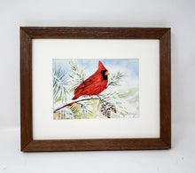 Load image into Gallery viewer, Red Cardinal watercolor painting red cardinal print framed art print Christmas art snow painting framed wall print red bird print bird art - Leigh Barry Watercolors