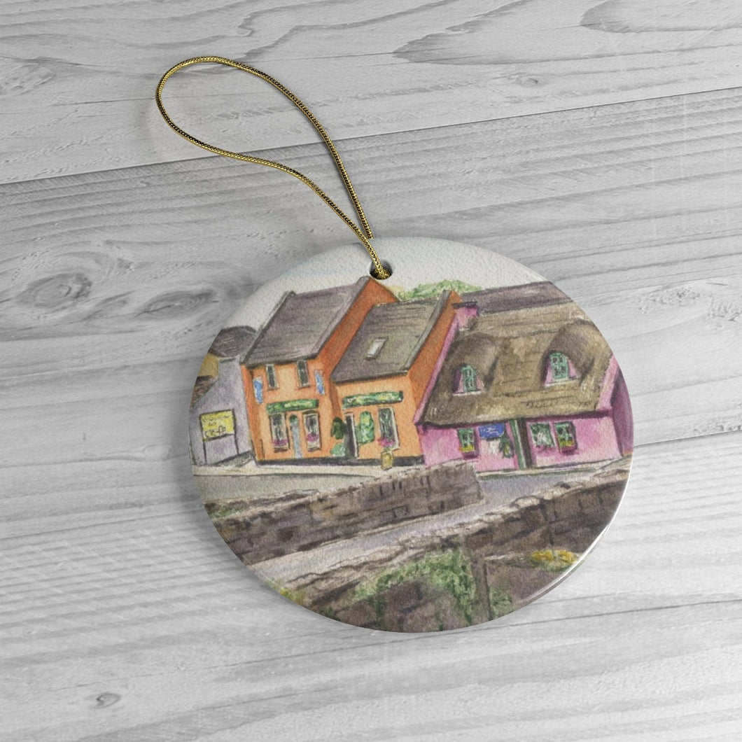 Doolin Ireland Ceramic Ornaments Irish Christmas ornament Irish village art gift Ireland landscape ornament - Leigh Barry Watercolors