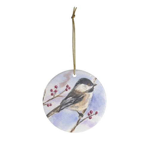 Chickadee Ceramic Ornament Chickadee Christmas ornament bird art chickadee painting bird painting birds watercolor art bird print - Leigh Barry Watercolors