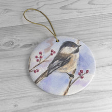 Load image into Gallery viewer, Chickadee Ceramic Ornament, Chickadee Christmas ornament, bird art, chickadee painting, bird painting, birds watercolor art - Leigh Barry Watercolors