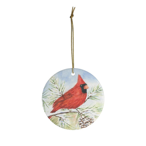 Red Cardinal Christmas Ornament Cardinal Bird art original watercolor Ceramic Ornaments Cardinal Christmas tree ornament bird tree ornament - Leigh Barry Watercolors