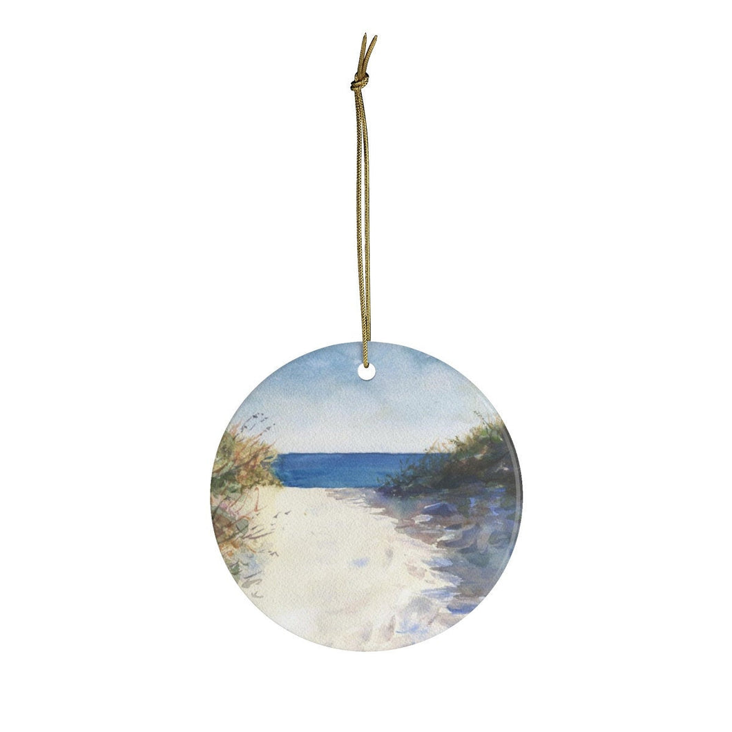 Ocean Painting Christmas Ornaments Beach ornament beach path art beach decor gift for beach lover beach tree ornament beach painting ocean - Leigh Barry Watercolors
