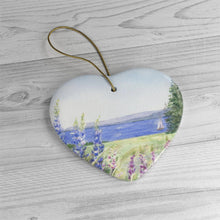 Load image into Gallery viewer, Maine Lupine Christmas Ornament Maine Ceramic Ornament Maine tree ornament Maine painting gift for mom Maine gift lupine painting wall art - Leigh Barry Watercolors