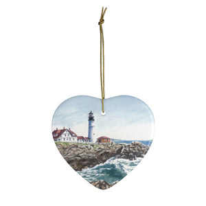 Portland Head Lighthouse Christmas Ornaments Maine Lighthouse Ceramic Ornaments Maine gift Maine painting Maine Christmas gift for mom art - Leigh Barry Watercolors