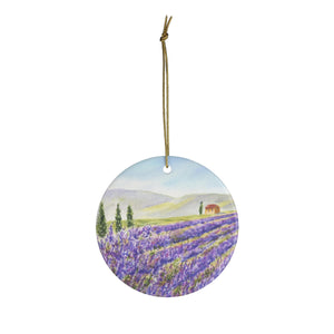 Lavender Field Watercolor Painting Ornament Lavender Provence France wall tree ornament Ceramic Ornaments Lavender Painting ornament - Leigh Barry Watercolors