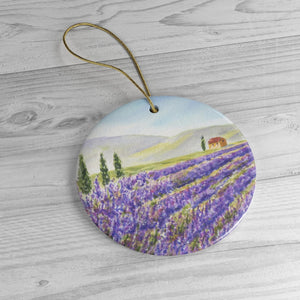 Lavender Field Watercolor Painting Ornament Lavender Provence France wall tree ornament Ceramic Ornaments Lavender Painting ornament