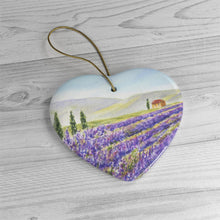 Load image into Gallery viewer, Lavender Field Watercolor Painting Ornament Lavender Provence France wall tree ornament Ceramic Ornaments Lavender Painting ornament
