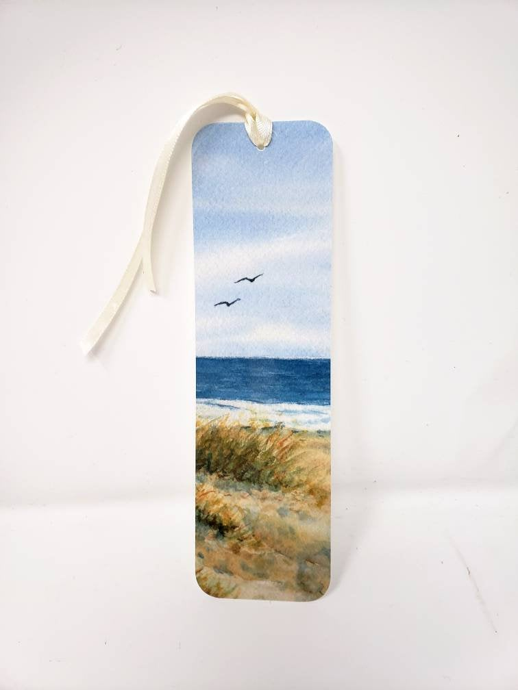 Beach Bookmark beach watercolor bookmarker ocean art bookmark art print bookmarker beach painting - Leigh Barry Watercolors