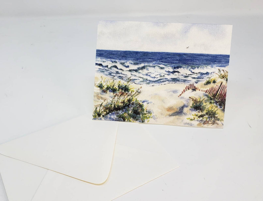 Beach Notecards Seashore Blank Cards Ocean painting beach painting ocean watercolor stocking stuffer gift for beachlover original art cards - Leigh Barry Watercolors