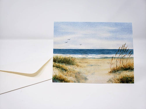 Beach notecards watercolor beach note cards blank greeting cards blank note cards original art notecards blank cards with envelopes art card - Leigh Barry Watercolors