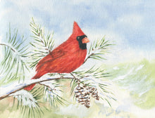 Load image into Gallery viewer, Cardinal notecards bird notecards red cardinal bird blank greeting cards original art notecards thank you notes original watercolor notecard - Leigh Barry Watercolors
