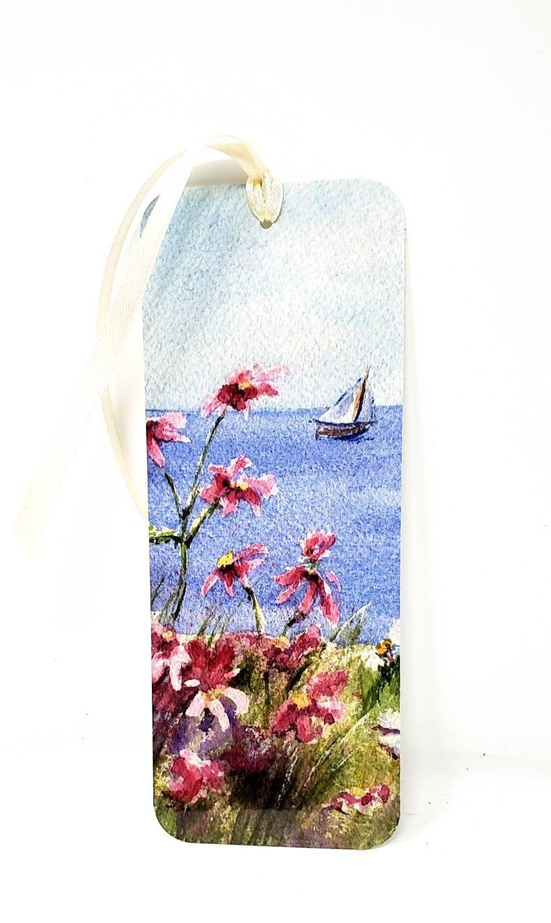Seaside Painting Bookmark Sailboat art gift for reader original art bookmarker handmade bookmark gift for mom small gift stocking stuffer - Leigh Barry Watercolors