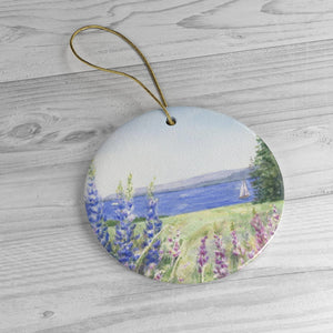 Maine Lupine Christmas Ornament Maine Ceramic Ornament Maine tree ornament Maine painting gift for mom Maine gift lupine painting wall art - Leigh Barry Watercolors