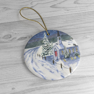 Winter Scene Christmas Ornanament ceramic ornaments Church snow painting Christmas art Winter painting - Leigh Barry Watercolors