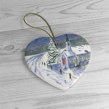 Load image into Gallery viewer, Winter Scene Christmas Ornanament ceramic ornaments Church snow painting Christmas art Winter painting - Leigh Barry Watercolors