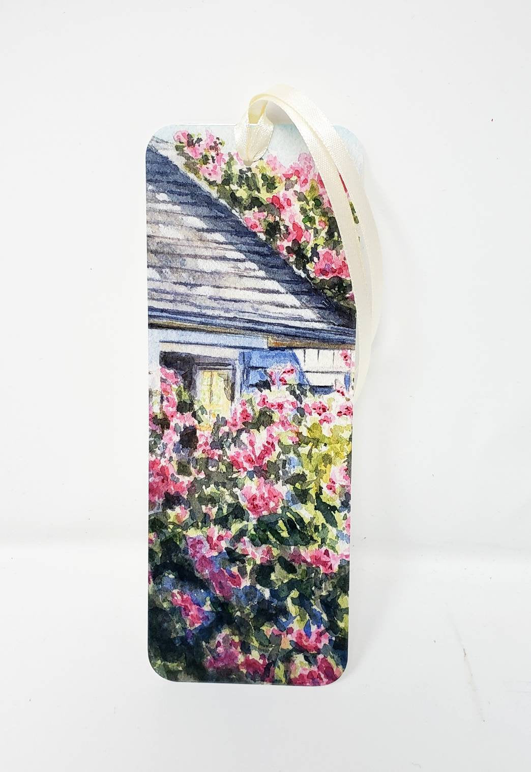 Nantucket Bookmark Nantucket Roses watercolor painting small gift stocking stuffer for her Sconset art Cape Cod art gift for reader - Leigh Barry Watercolors