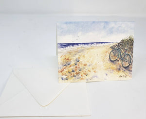Beach Notecards Bicycle Art Beach painting gift blank cards ocean painting watercolor notecards  Seashore painting card stocking stuffer - Leigh Barry Watercolors
