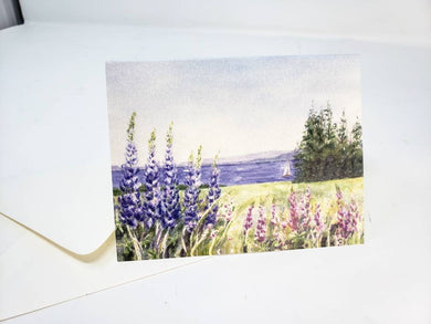 Maine Lupine Notecards Maine notecards Maine gift Maine painting lupine art seaside art ocean painting blank cards lupine flowers painting - Leigh Barry Watercolors