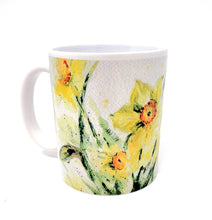 Load image into Gallery viewer, Daffodil Mug Watercolor Painting Coffee Mug Daffodil Painting Yellow flowers mug yellow kitchen decor camp cup latte mug  camper mug