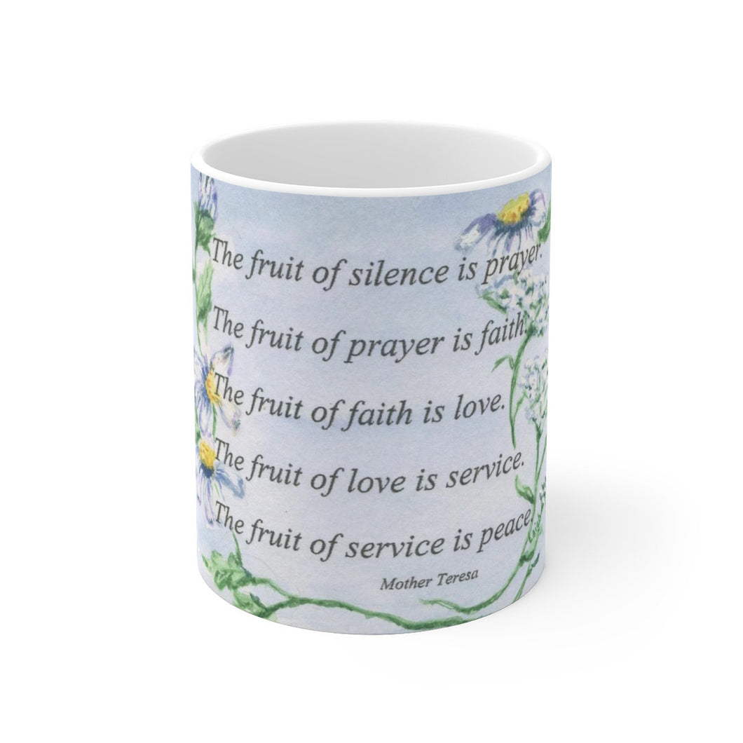 The Fruit of Silence Mug Mother Teresa Quote Prayer Quote Mug Prayer Quote Gift For Mom Inspirational Mug - Leigh Barry Watercolors