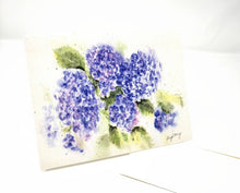 Load image into Gallery viewer, Hydrangeas Notecards Hydrangeas Watercolor Blank Cards Blank Notes Blue Floral Note Cards Thank You Notes Hydrangea watercolor art blue card - Leigh Barry Watercolors