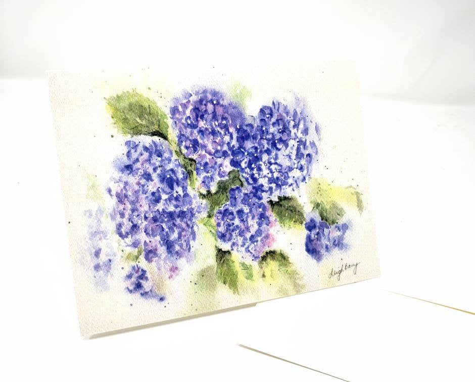 Hydrangeas Notecards Hydrangeas Watercolor Blank Cards Blank Notes Blue Floral Note Cards Thank You Notes Hydrangea watercolor art blue card - Leigh Barry Watercolors