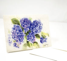 Load image into Gallery viewer, Hydrangeas Notecards Hydrangeas Watercolor Blank Cards Blank Notes Blue Floral Note Cards Thank You Notes Hydrangea watercolor art blue card