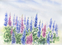 Load image into Gallery viewer, Lupine Notecards Blank Note Cards Lupine Painting Cards Floral Watercolor notecards Maine Lupine art Maine blank cards gift blank notes - Leigh Barry Watercolors