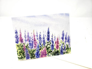 Lupine Notecards Blank Note Cards Lupine Painting Cards Floral Watercolor notecards Maine Lupine art Maine blank cards gift blank notes - Leigh Barry Watercolors