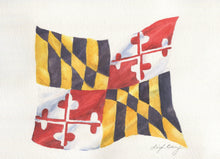 Load image into Gallery viewer, Maryland Flag Blank Note Cards Maryland gift Maryland Art Notecards State Flag Art Maryland Painting Maryland notecards blank thank you note