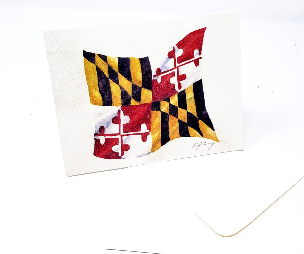 Maryland Flag Blank Note Cards Maryland gift Maryland Art Notecards State Flag Art Maryland Painting Maryland notecards blank thank you note