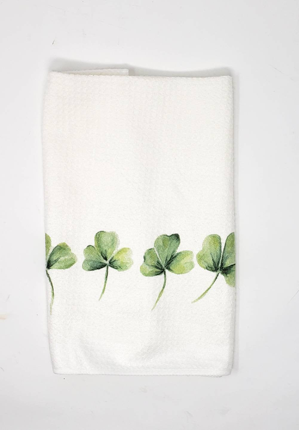 Shamrock Tea Towel Shamrocks Kitchen Towel Irish decor Irish git Ireland gift for home Irish art Ireland painting St. Patricks Day - Leigh Barry Watercolors