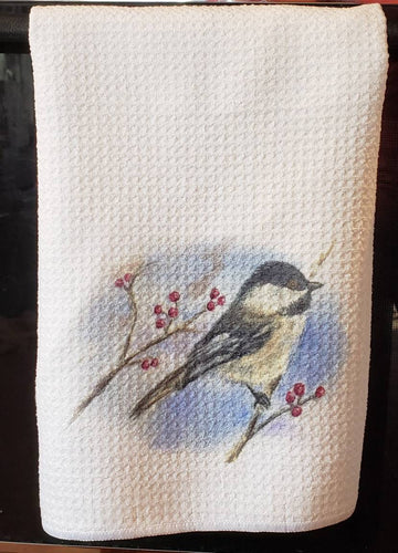 Chickadee Tea Towel Bird towels Maine Gift Bird Gift Bird Kitchen decor Chickadee Painting bird Painting Bird Watercolor kitchen towels - Leigh Barry Watercolors
