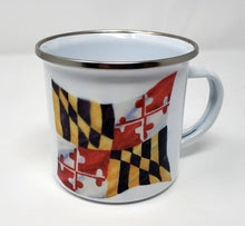 Load image into Gallery viewer, Maryland Flag Mug Maryland gift Maryland gift for Dad Maryland coffee mug camp mug latte Maryland painting Maryland state flag - Leigh Barry Watercolors