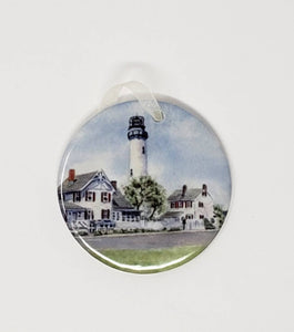 Fenwick Island Lighthouse Christmas Ornament Ceramic  lighthouse gift Christmas tree ornament beach ornament Fenwick island Delaware gift - Leigh Barry Watercolors