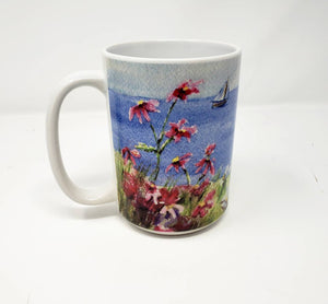 Seaside Flowers Coffee Mug Ocean Painting Mugs Latte Mug Camp Mug Camper cup Maine painting watercolor daisies hollyhock art sailing - Leigh Barry Watercolors