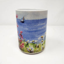 Load image into Gallery viewer, Seaside Flowers Coffee Mug Ocean Painting Mugs Latte Mug Camp Mug Camper cup Maine painting watercolor daisies hollyhock art sailing - Leigh Barry Watercolors