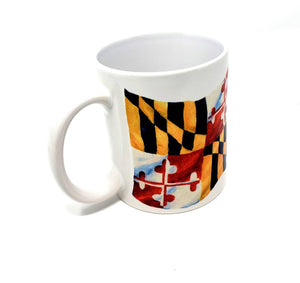 Maryland Flag Mug Maryland gift Maryland gift for Dad Maryland coffee mug camp mug latte Maryland painting Maryland state flag - Leigh Barry Watercolors