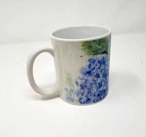Hydrangea Mug Hydrangeas Watercolor Coffee Mug Hydrangeas latte mug camp mug metal campercup blue flower decor hydrangeas art hydrangea - Leigh Barry Watercolors