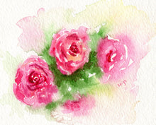 Load image into Gallery viewer, Red Roses Heart Ornament Valentine's Day gift ornament pink roses Floral ceramic ornament - Leigh Barry Watercolors