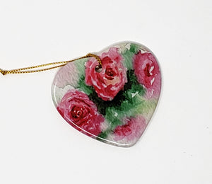 Red Roses Heart Ornament Valentine's Day gift ornament pink roses Floral ceramic ornament - Leigh Barry Watercolors