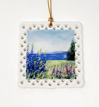 Load image into Gallery viewer, Lupine Ornament, Maine Christmas Ornament Ceramic Ornament Maine Painting Maine coastal painting lupine floral art seaside art - Leigh Barry Watercolors
