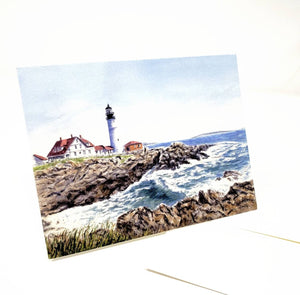 Portland Lighthouse Notecards Portland Head Light Note Cards Blank Cards Maine Lighthouse Maine gift Maine art Painting Maine watercolor art - Leigh Barry Watercolors