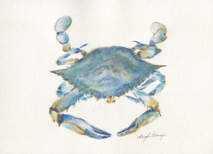Blue Crab Note Cards  Maryland Blue Crab Art Blank Notecards Maryland Art Maryland Gift thank you notes Chesapeake Bay art Virginia art - Leigh Barry Watercolors